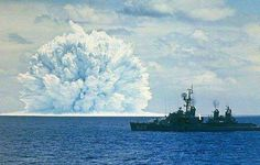 An underwater nuclear test being conducted in the Pacific Coast off California during Operation Dominic 1962.