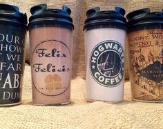 Customizable Harry Potter Gift Set  Travel Coffee Tea Travel Mugs Cups Golden Snitch Necklace Watch Felix Felicis Deathly Hollows