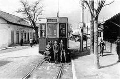 Tram in Madrid (Barrio Peñagrande). Spain. 50s