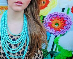 #turquoise #seven #layer #necklace #leopard #statement #spring #fashion #belleboutiquenwa