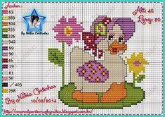 Patinhos Cross Stitch Bird, Cross Stitch Animals, Cross Stitch Charts, Cross Stitching, Cross Stitch Patterns, Goose Craft, Easter Cross, Afghan Patterns, Baby Crafts