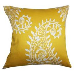 "Down pillow in marigold.   Product: PillowConstruction Material: Cotton cover and 95/5 down fillColor: MarigoldFeatures:  Insert includedHidden zipper closureMade in the USA Dimensions: 18"" x 18""Cleaning and Care: Spot clean"