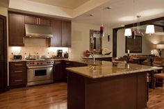 hickory flooring in kitchen | Three Bedroom Residence | lumiere telluride
