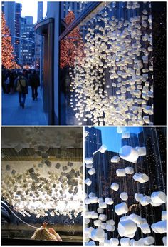 Marshmallow window installation in Anthropologie NYC. Gravity defying, pillowy and lovely.