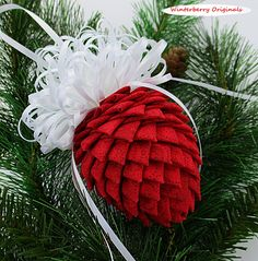 Fabric Pinecone Ornament - Patterned Red with White Satin Ribbon - Stocking Stuffer, Christmas Ornament, Co-Worker Gift Quilted Christmas Ornaments, Pinecone Ornaments, Fabric Ornaments, Ball Ornaments, Christmas Balls, Christmas Crafts, Pine Cone Decorations, Christmas Decorations, Ribbon Art