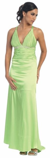 Discount Lime Prom Dress Open Criss-Cross Back Rhinestone Bodice Gown $49.99