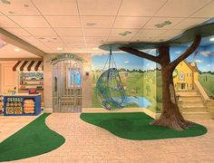 ] Basement Playroom Ideas Playroom Storage View In Gallery Creative Idea For Kids Playroom In The Basement Decoist Basement Kids Playroom Ideas And Design Tips Modern Playroom, Colorful Playroom, Playroom Design, Kids Room Design, Playroom Ideas, Office Playroom, Modern Basement, Daycare Design, Kid Playroom