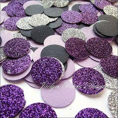 Purple, Silver & Black Glitter Party Confetti