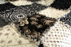 black & white rag quilt; size 48x68; soft and raggy; more details at www.etsy.com/shop/WillSewForChocolate - Sold.