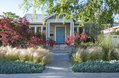 Ideas Succulent Landscaping Front Yard Curb Appeal - All For Garden Drought Resistant Landscaping, Drought Tolerant Landscape, Succulent Landscaping, Backyard Landscaping, California Front Yard Landscaping Ideas, Landscape Design, Garden Design, Blue Succulents, Stipa