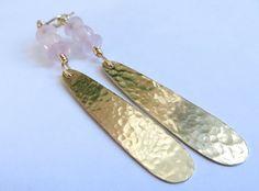 Earrings of Brass hammered Teardrops Brass earrings by JoJosgems
