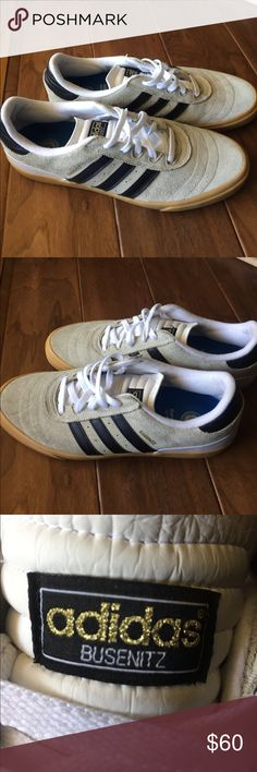 Adidas Busenitz skateboarding shoes size 13 ADIDAS BUSENITZ Skateboarding shoes. Size 13. Tan with black strip. Gum sole. Very clean. Only worn a few times Shoes Sneakers