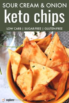 Sour cream and onion keto chips are delicious and the perfect low carb appetizer or side. Gluten-free and packed with flavor alone or with a keto dip. dinner sides Sour Cream and Onion Keto Chips Real Food Recipes, Diet Recipes, Snack Recipes, Cooking Recipes, Vegetarian Cooking, Keto Chia Seed Recipes, Atkins Recipes, Cheap Recipes, Onion Recipes