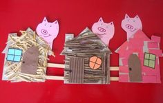 three little pigs collage for fine motor, language, and sensory experience Fairy Tale Crafts, Fairy Tale Theme, Traditional Tales, Traditional Stories, Pig Crafts, Book Crafts, Art For Kids, Crafts For Kids, Fairy Tales Unit