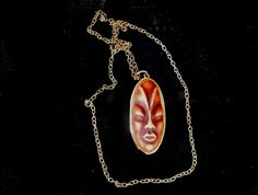 African Mask Pendant Necklace, 3D Pendant with Gold tone chain Necklace, Large Pendant on Long Chain Necklace, Christmas gift by GrandmasDowry on Etsy