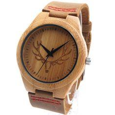 Men's Deer Head Design Bamboo & Leather Watch