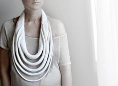 white statement necklace, big knitted necklace, Paris fashion,Winter Accessories, For her