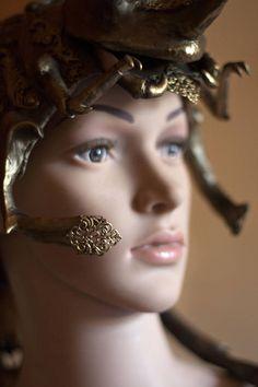 Queen headdress, fantasy helmet, inspired by Enchanted Doll work, worbla headpiece, fantasy costume, golden crown, insect queen, beetle headdress, baroque costume