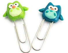 Cute Owl Paperclip Bookmark Polymer Clay Charm - Green or Blue