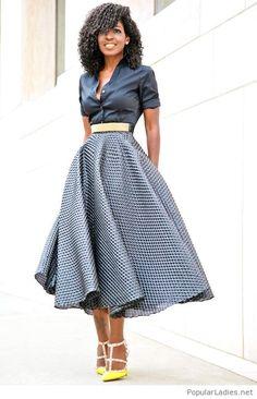 b3036640727d7 Button Down + Textured Tea Length Skirt