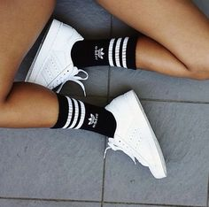 Summer Bright White Adidas Sneakers With Black And White Tube Socks