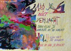 'Blij' ansichtkaart gemaakt door Saskia Splinter #postcard #art #calligraphy #ansichtkaart #happy #blij