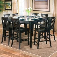 Amazon.com: 9pcs Contemporary Black Counter Height Dining Table & 8 Stools Set: Home & Kitchen