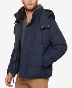 Marc New York Men's Quilted Jacket with Removable Hood and Collar - Blue XXL