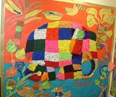 Elmer Add texture to Elmer Early Years Displays, Class Displays, Classroom Displays, Classroom Decor, Elephant Quilt, Elephant Art, Elmer The Elephants, Art School, School Stuff