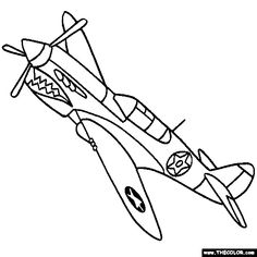 Air Plane coloring page printables @kerri Curtiss P-40E Kittyhawk Warhawk Tomahawk Coloring
