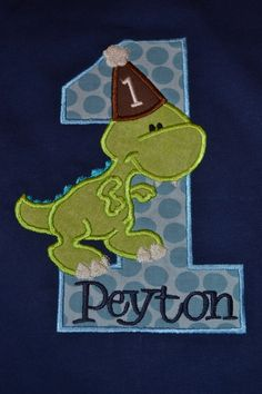 Dino Birthday with Name (number can be changed) Dinosaur First Birthday Dino Birthday with Name (num Dinosaur First Birthday, Dinosaur Party, 1st Boy Birthday, Birthday Ideas, Halloween Shirts Kids, First Birthdays, Party Time, Number, Christmas Ornaments