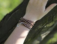 Brown bracelet Imitation leather Flat suede cord crystal charm Wrap bangle women uplifting gift sterling silver 925 clasp Ladies infinity
