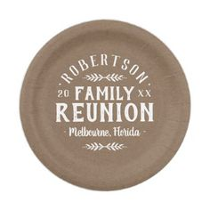 #Modern Rustic Personalized Family Reunion Paper Plate - cyo customize design idea do it yourself diy