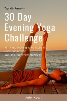 Relax, stretch, and unwind with our free 30 Day Evening Yoga Flow Challenge, and discover what just 15 minutes of gentle yoga a day can do for you. If you want to improve flexibility, lower stress levels, relieve tired, achy muscles, create a soothing self-care evening routine, and improve your sleep this is the challenge for you. Our short evening yoga sequences are perfect for beginners and all levels. Click through to sign up today. Yin Yoga Sequence, Yoga Sequences, Youtube Workout Videos, Yoga Movement, Yoga For Stress Relief, Online Yoga Classes, Yoga For Back Pain, Gentle Yoga, Evening Routine
