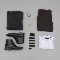 Business casual Friday noir style. Tomorrow I'll be announcing a giveaway so stay tuned. Shirt: @itsnickgraham Boots: @thursdayboots Chinos: @niftygenius Socks: @vybesocks Lip Balm: @otterwax Bracelets: @taft Sweater: @gap