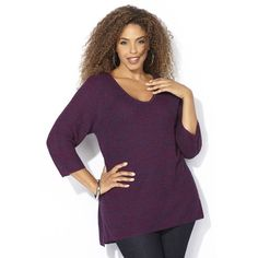Avenue Shaker Stitch Pullover Sweater ($39) ❤ liked on Polyvore featuring tops, sweaters, berry, plus size, sweater pullover, women plus size tops, plus size sweaters, purple v neck sweater and v neck pullover sweater