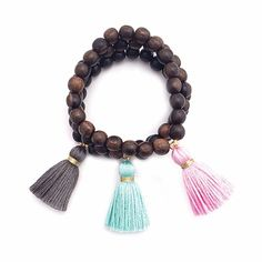 Dark Wood Tassel Bracelet