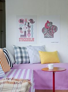 Bemz Daybed cover in Candy Pink on Absolute White Stockholm Stripe, Bemz Daybed cover in Candy Pink,  Bemz cushion covers in Mandarin Orange, Straw Yellow, Jet Black Stockholm Stripe, Absolute White