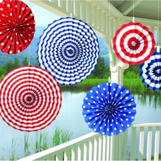 American Summer Paper Fan Decorations | 6ct