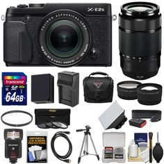 Fujifilm X-E2S Wi-Fi Digital Camera & 18-55mm XF Lens (Black) with 50-230mm XC II Lens + 64GB Card + Battery & Charger + Flash + Case + Tripod + Kit. KIT INCLUDES 17 PRODUCTS -- All BRAND NEW Items with all Manufacturer-supplied Accessories + Full USA Warranties:. [1] Fujifilm X-E2S Wi-Fi Digital Camera & 18-55mm XF Lens (Black) + [2] Fujifilm 50-230mm XC II Lens + [3] Transcend 64GB SDXC 300x Card + [4] Spare NP-W126 Battery +. [5] Charger for Fuji NP-W126 + [6] Vivitar 58mm UV Glass…