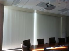 Motorized Room Darkening Shades by WPM  www.windowproductsmanagement.com Room Darkening Shades, Motorized Shades, Conference Room, Table, Furniture, Home Decor, Decoration Home, Room Decor, Tables