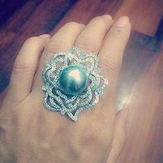 #diamonds #pearl #ring #handcrafted  #handmade #richgems #yangon #Myanmar #pearlring