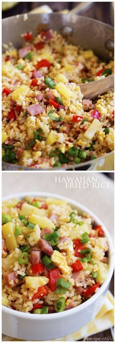Hawaiian Fried Rice is a fun twist on a traditional Chinese food side dish recipe. I love anything tropical!