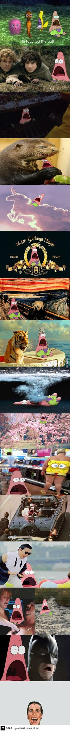 I'm not sure if I'll ever get tired of surprised patrick.and damn Christian Bale have me a fright. Surprised Patrick, Childish Gambino, Patrick Star, It Goes On, Have A Laugh, Funny Cartoons, Funny Faces, Best Funny Pictures, Funny Texts