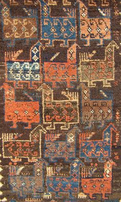 """Very rare antique tribal baluch """"bird"""" rug. great graphics. must see photos. wow"""