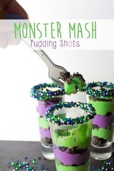 Looking for a last minute Halloween Party treat that doesn't require any cooking at all? Try this delicious Monster Mash pudding shot-- it's perfect for Halloween and doesn't take much effort at all to impress! Perfect for entertaining when life is way too busy to cook.