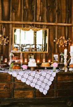 creative buffet table ideas | Rustic Dessert Table with Vintage Lace Overlay via 100 Layer Cake