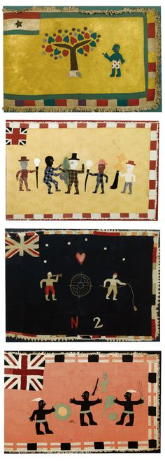 Africa | Four Fante Asafo flags from Ghana | Cotton appliqué || Sotheby's; Alistair McAlpine Textiles, Part II. Lot 179, 5, 26 and 27