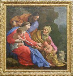 Simon VOUET Paris, 1590 - Paris, 1649 La Sainte Famille avec sainte Élisabeth et le petit saint Jean Vers 1642 H. : 1,32 m. ; L. : 1,25 m. Peint alors que Poussin était à Paris (1640 - 1642), ce tableau de son rival Vouet, alors au sommet de son art, se réclame de Raphaël (La Madonne d'Albe, Washington, National Gallery of Art).