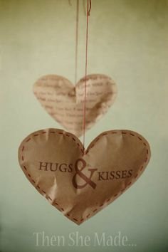 """Brown Paper Hearts Hanging From String..."" I would prob just stamp on the paper instead but cute idea for stuffers =)"